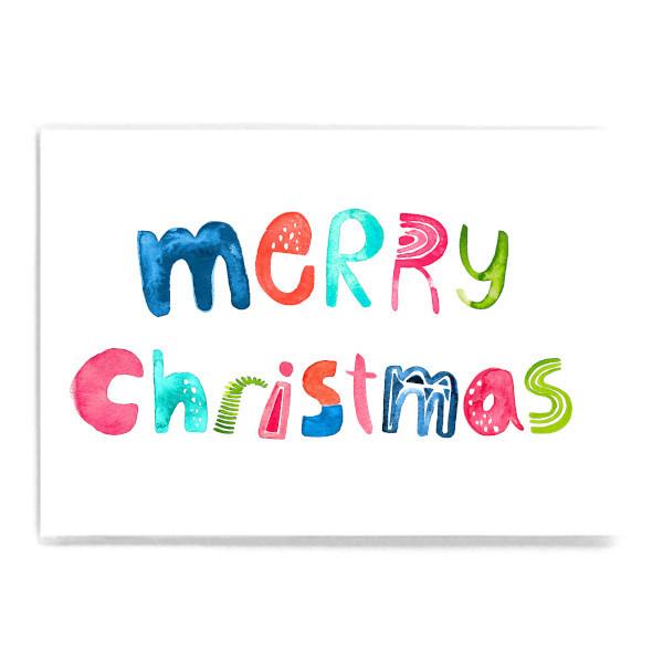 "Postkarte ""Merry Christmas"" bunte Buchstaben"