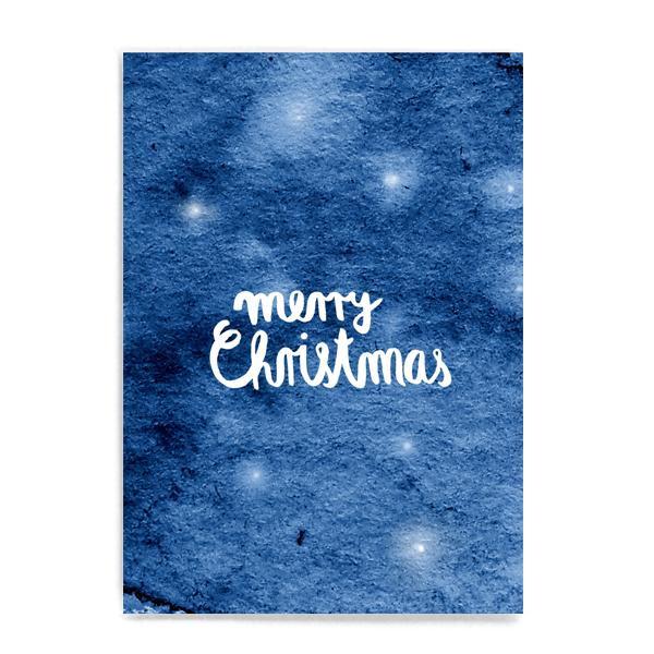 """Postkarte """"Merry Christmas"""" blau"""