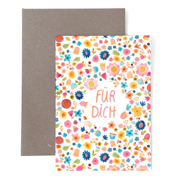 """Grußkarte Zum Geburtstag """"Für dich"""" mit Blumen"""