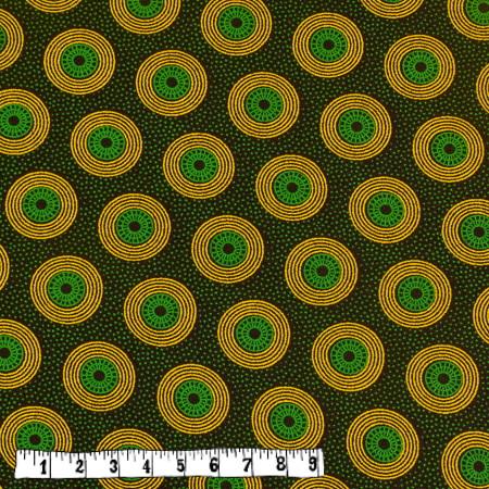 Bio Rapskissen - Shweshwe grün/gelbe Kreise