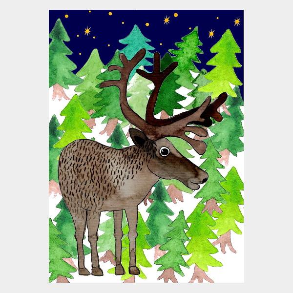 """Postkarte """"Rentier im Wald"""""""