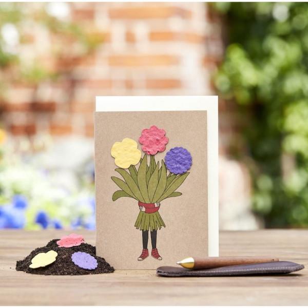 Grußkarte - Blumenmädchen