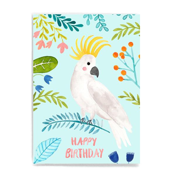 """Postkarte """"Happy Birthday Kakadu"""""""
