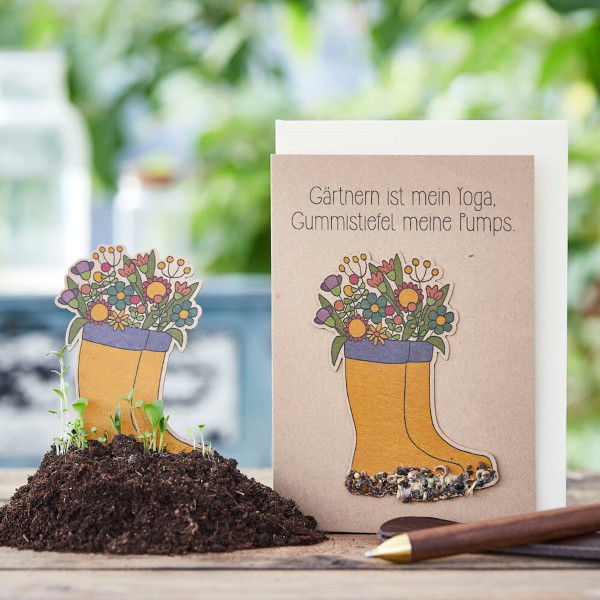 Saatsteckerkarte - Gummistiefel