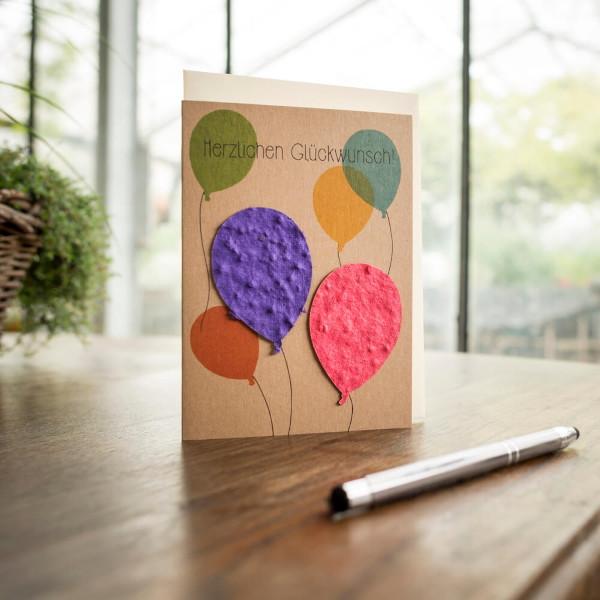 Grußkarte - Glückwunsch Luftballons