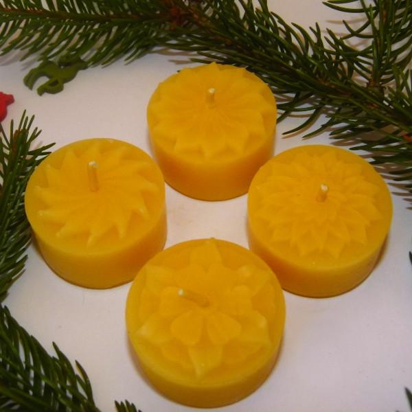 LEUCHTWERK Teelichter Motiv Blumensterne 4 er 100 % Bienenwachs