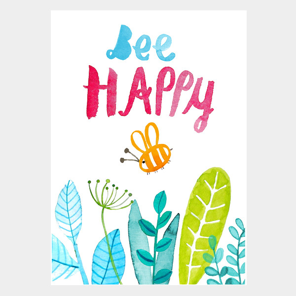 "Postkarte ""Bee Happy"""