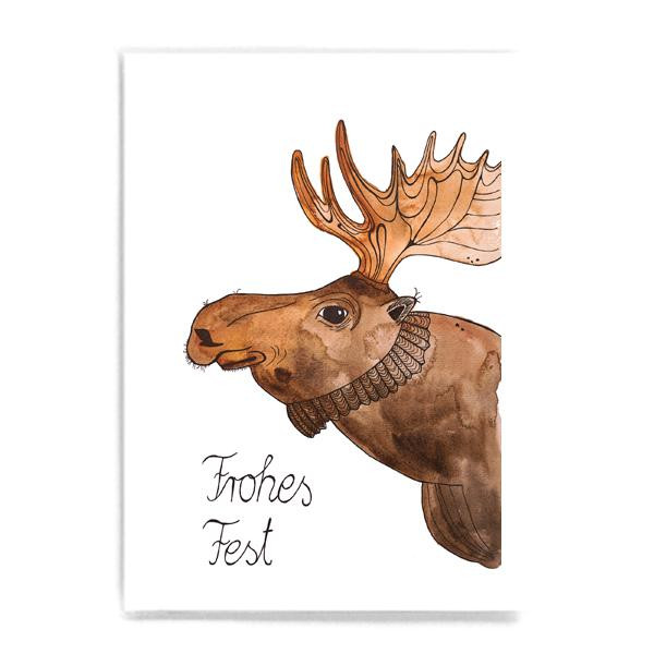 "Postkarte ""Frohes Fest"" mit Elch"