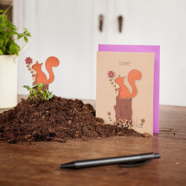 Saatsteckerkarte - Danke Eichhörnchen