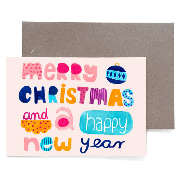 """Grußkarte """"Merry Cristmas and a Happy New Year"""""""
