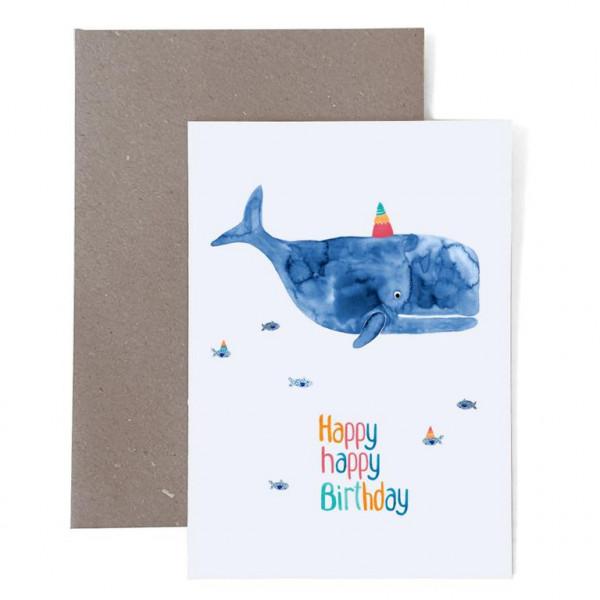 """Grußkarte Zum Geburtstag """"Happy Birthday"""" mit Wal"""