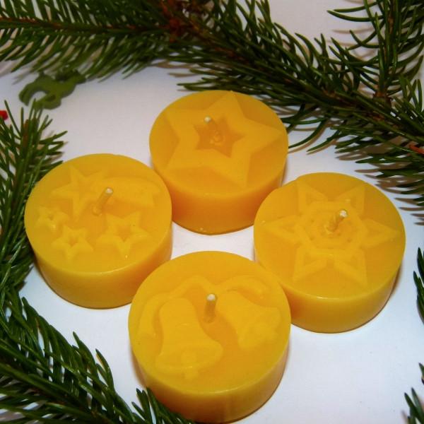 LEUCHTWERK Teelichter Motiv Weihnachten 4 er 100 % Bienenwachs